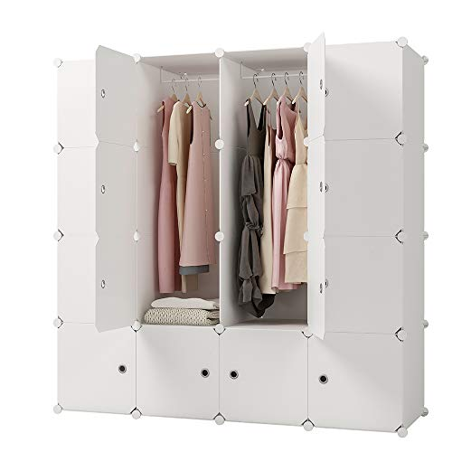 KOUSI Portable Clothes Closet Clothing Storage Plastic Dresser Shelves Armoire Wardrobe Moving Boxes Rack Bins Shelf Closet for Bedroom Organizers and Storage, White, 10 Cubes 2 Hanging Sections