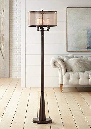 Durango Rustic Floor Lamp 3-Light Oiled Bronze Metal Brown Sheer Shade LED Edison Bulbs for Living Room Bedroom - Franklin Iron Works