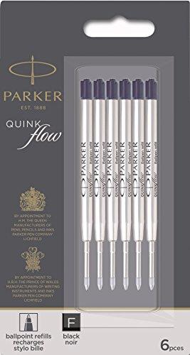Parker QUINKflow Ballpoint Pen Ink Refills, Fine Tip, Black, 6 Count Value Pack (2025155)