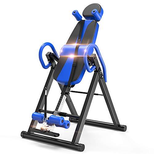 Yoleo Gravity Heavy Duty Inversion Table with Adjustable Headrest & Protective Belt (Blue)