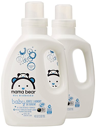 Amazon Brand - Mama Bear Gentle Baby Laundry Detergent, 95% Biobased, Fragrance Free, 40 Ounce (Pack of 2, 53 Loads Each)