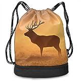 Bulk Drawstring Backpack, Lightweight Gym Sport Bundled Bag Wet Dry Separated Yoga String Cinch Tote Bag Multipurpose Casual Bag For Adult Kids - Deer