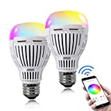 SANSI 2 Pack Smart Light Bulb, 10W E26 Multicolor Wi-Fi LED Bulb, Compatible With Alexa, 1100 Lumens, Smart LED Light Bulb 75W Equivalent, Soft White (2700k-6500k), RGB+W, No Hub Required