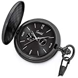 "Product review of Speidel Classic Brushed Satin Black Engravable Pocket Watch with 14"" Chain, Black Dial, Seconds Hand, Day and Date Sub-Dials"