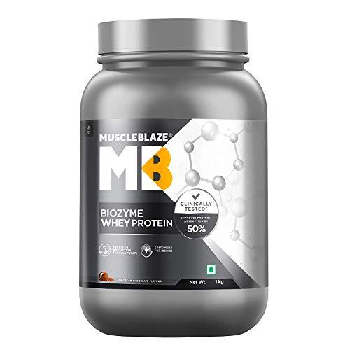 Best whey protein powder MuscleBlaze Biozyme Whey Protein (1 Kg, Ice Cream Chocolate)