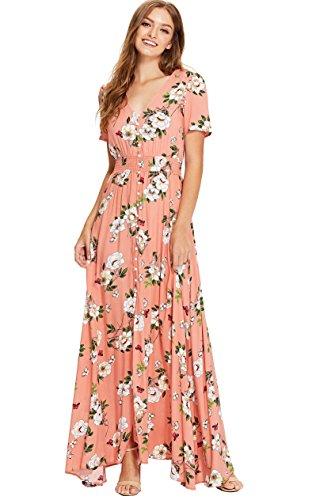 a49d7402dd1 Milumia Women s Button up Split Floral Print Flowy Party Maxi Dress ...