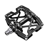 Mzyrh Mountain Bike Pedals, Ultra Strong Colorful CNC Machined 9/16' Cycling Sealed 3 Bearing Pedals (Black Black)