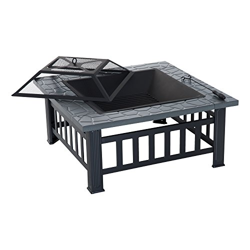 Outsunny 32' Steel Square Outdoor Patio Wood Burning Fire Pit Table Top Set