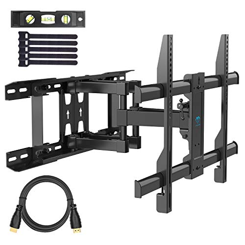 """PERLESMITH TV Wall Mount Swivels, Tilts, Extends - Full Motion TV Mount with Articulating 16' Arm Fits 16"""", 18"""", 24"""" Wood Studs - VESA 400x400mm for 37-55 Inch LED LCD Flat Screen Plasma TVs"""