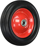 Shepherd Hardware 9636 8-Inch Semi-Pneumatic Rubber Tire, Steel Hub with Ball Bearings, Ribbed Tread, 1/2-Inch Bore Centered Axle