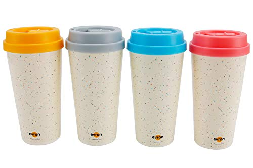 Spill Proof Coffee Mugs with Anti-Leak Locking Lid, Insulated Double-Wall for Hot and Cold Drinks, Reusable Alternative for Disposable Paper Cups, Stainless Steel Tumbler Mugs (16oz 4 Pack)