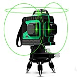3D Green Beam Laser Level 360 Degree Cross Lines 100 Feet Indoor - Plane Leveling and Alignment Laser Level -1 Vertical and 2 Horizontal 360 Degree Lines with Mini Tripod Base