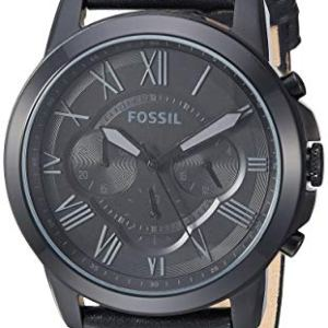 Fossil Men's Grant Quartz Stainless Steel and Leather Chronograph Watch, Color: Black (Model: FS1321IE) 4 Fashion Online Shop Gifts for her Gifts for him womens full figure