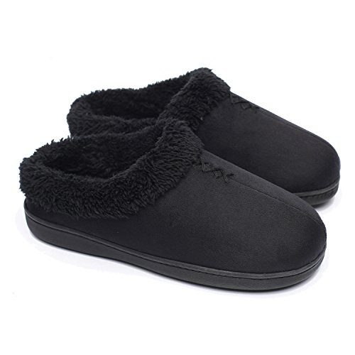 ofoot Women's Warm Clog Slippers,Memory Foam Indoor/Outdoor Hard Bottom Rubber Soles Slippers with Back for Women Black