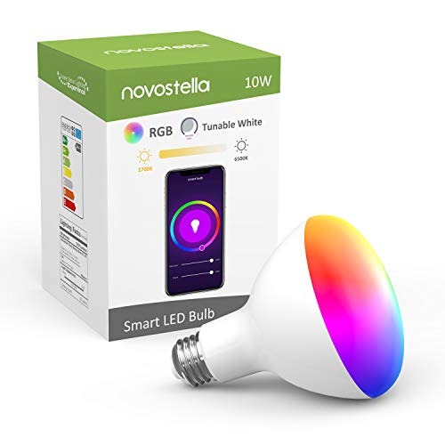 Novostella LED Flood Lights Bulbs BR30 RGB Color Changing 2700K to 6500K Daylight Dimmable Wifi Smart Bulb for Ceiling Lights Works with Alexa and Google Home (10W Equivalent to 85 Watt, 1050 LM)