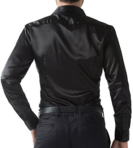 49fd9e596 PAUL JONES Men's Slim Fit Silk Like Satin Luxury Dress Shirt ...
