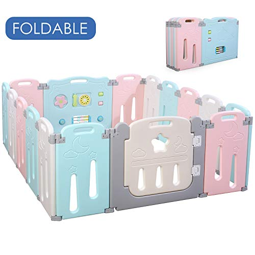 POTBY Foldable Baby Playpen 16 Panel Activity Center Safety Playard with Lock Door,Kid's Fence Indoor Outdoor,Free Installation,Double Layer Clasp and Anti-Slip Base for Children 10 months~6 Years Old