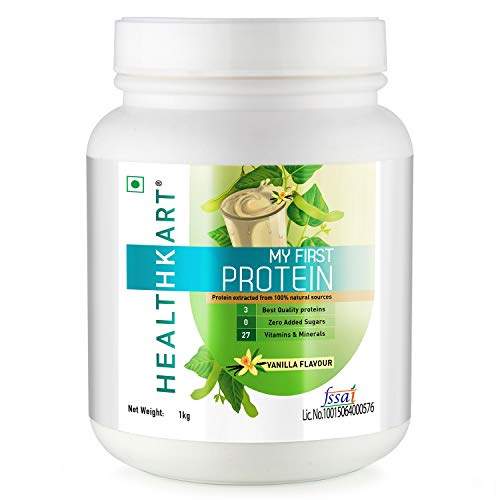 Healthkart My First Protein, Beginners Protein With Whey & Casein (Vanilla, 1 Kg)