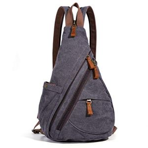 Canvas Sling Bag - Small Crossbody Backpack Shoulder Casual Daypack Chest Bags Rucksack for Men Women Outdoor Cycling Hiking Travel (6881-D.Grey) 21 Fashion Online Shop gifts for her gifts for him womens full figure
