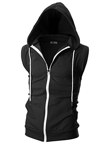 OHOO Mens Slim Fit Sleeveless Lightweight Zip-up Hooded Vest with Zipper Trim 1 Fashion Online Shop Gifts for her Gifts for him womens full figure