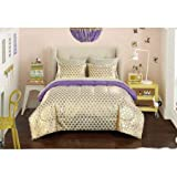 Your Zone Gold Hearts Bed in a Bag Bedding Set | Machine Washable for Easy Care (QUEEN)