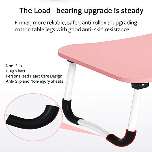 MemeHo-Smart-Multi-Purpose-Laptop-Table-with-Dock-StandStudy-TableBed-TableFoldable-and-PortableErgonomic-Rounded-EdgesNon-Slip-LegsEngineered-Wood-Pink