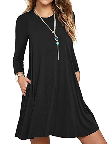 Verabendi women s long sleeve casual loose t shirt swing Women s long sleeve shirt dress