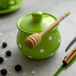 Lime Green Polka Dot Sugar Bowl