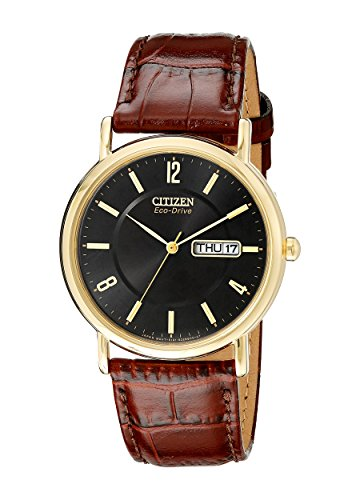 41zApXVoQ L Gold-tone watch in stainless steel featuring black two-step dial with date window at 3 o'clock and croco-embossed leather band. Case diameter : 36 mm Japanese quartz movement with analog display Protective mineral crystal dial window