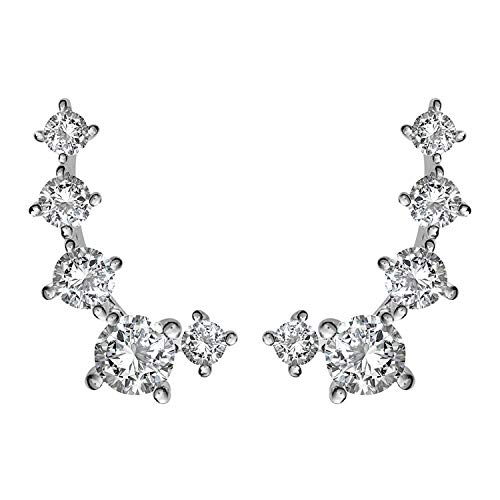 PAVOI 14K White Gold Plated Cubic Zirconia Ear Crawler   Cuff Earrings   Hypoallergenic Stud Ear Climber Jackets
