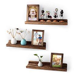 Emfogo Wood Picture Ledge Shelf Rustic Floating Shelves Set for 3 Kitchen Farmhouse Bathroom Decor Nursery Kids…