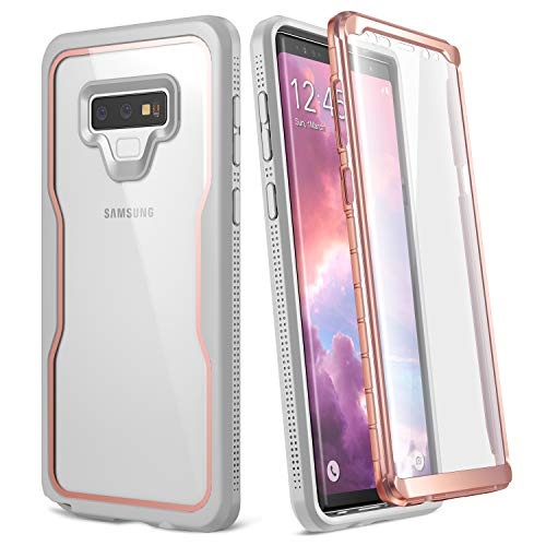 YOUMAKER Crystal Clear Case Galaxy Note 9, Full Body Built-in Screen Protector Heavy Duty Protection Slim Fit Shockproof Rugged Cover Samsung Galaxy Note 9 (2018) 6.4 inch - Rose Gold/GY