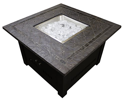 Square Faux Stone Firepit With Table Top,Mocha