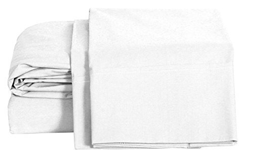 100% Cotton Percale Sheets Queen Size, White, Deep Pocket, 4 Piece - 1 Flat, 1 Deep Pocket Fitted Sheet and 2 Pillowcases, Crisp and Strong Bed Linen