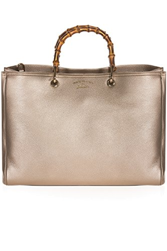 41zJXg6PY4L Gucci Bamboo Leather Shopper Shoulder Tote Bag 323658 - Metallic Golden Beige Leather material in metallic golden beige, fine light-gold hardware, bamboo handles and removable leather shoulder strap Multiple magnetic closure compartments, middle zip compartment, interior zip pockets