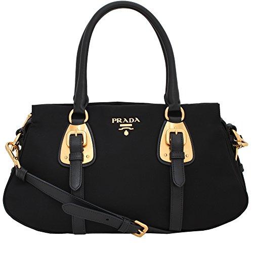 f0fe6a239a03 Prada Tessuto Black Nylon Leather Convertible Top Handle Satchel Bag ...