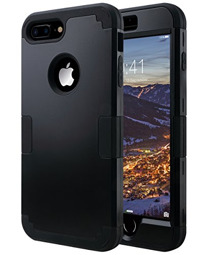 ULAK iPhone 7 Plus Case, Heavy Duty Slim Shockproof Drop Protection 3 in 1 Hybrid Hard PC Covers Soft Rubber Bumper Protective Case for iPhone 7 Plus 5.5 inch, Black