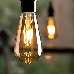 Brightown 4 PC Edison LED Bulb, Dimmable, 6-Watt Filament Light Bulb, 60 watt equivalent ST64 A19 LED Replacement Bulb for reading Cage Pendant Lights Wall Sconces, Amber Warm