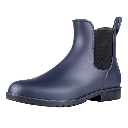 Asgard Women's Short Rain Boots Waterproof Slip On Ankle Chelsea Booties Navy 36