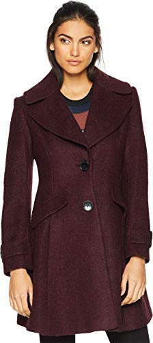Sam Edelman Women's Fit & Flare Coat Burgundy 8