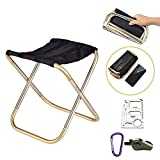 SYLC Mini Ultralight Portable Folding Camping Stool for Outdoor Fishing Hiking Backpacking Travelling Outdoor Little Stools (Gold)