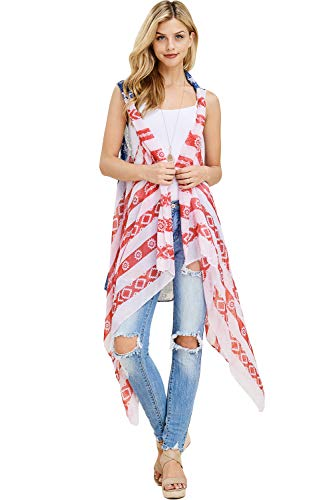 American Flag Print Lightweight Cardi - July 4th USA Star & Stripe Patriotic Shawl Open Vest, Kimono Cardigan (Long Vest - Aztec Flag)