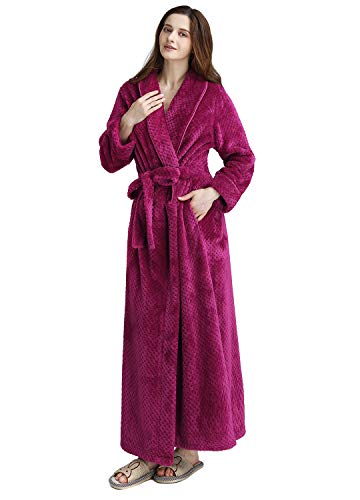 Womens Long Thick Fleece Robe Warm Waist Belt Super Soft Spa Plush Full Length Bathrobe with Shawl Collar (Small/Medium, Rose)