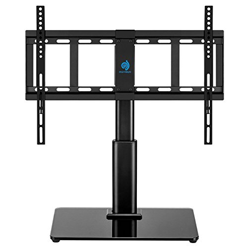 HUANUO HN-TVS02 Swivel 32' to 60' LCD LED TVs Television Stand with Heavy-Duty Tempered Glass Base, 4 Level Height Adjustments, VESA Compatible up to 600x400