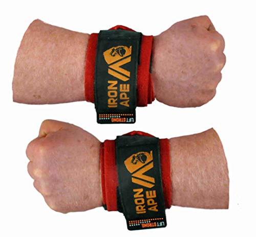 IRON APE Extra Stiff 24' Powerlifting Wrist Wraps for Weight Lifting, and Bodybuilding. New, Improved Design for Men and Women.