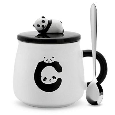 Teagas Cute Funny Cat Mug with Spoon Ceramic Coffee Mugs Cup...