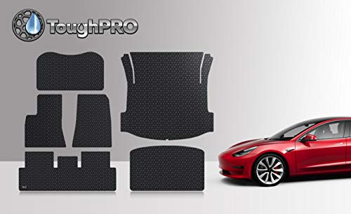 ToughPRO Tesla Model 3 Floor Mats Set - Frunk Mat - Trunk Mat- Storage Mat - All Weather - Heavy Duty - Black Rubber -(2019)