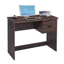 Brown Computer Desk Writing Study Table with 2 Side Drawers Classic Home Office Laptop Desk Brown Wood Notebook Table (35.4×17.7×29.1 Inches)