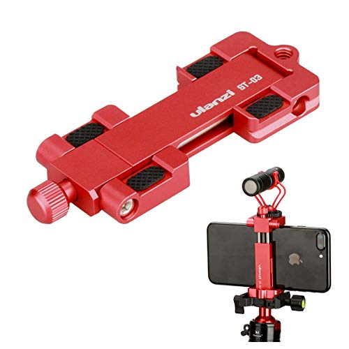 Ulanzi ST-03 Metal Smart Phone Tripod Mount with Cold Shoe Mount and Arca-Style Quick Release Plate for iPhone Xs X 8 7 Plus Samsung Huawei,Cell Phone Tripod Holder Clip Adapter (Red)