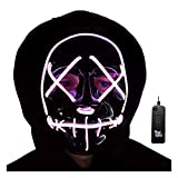 Trippy Lights LED Light Up Zipper Mask for Halloween, Festivals, Parties, Raves (Pink)